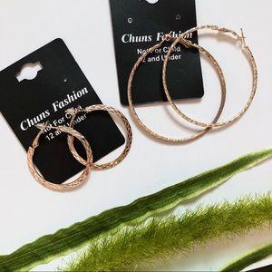 Gold Plated Loop Earrings Set of 2